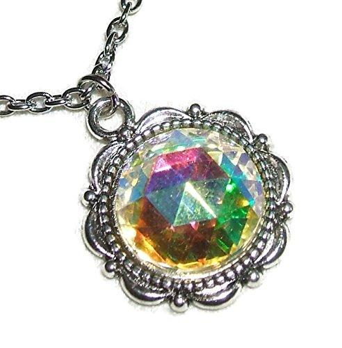 - CRYSTAL AB Czech Glass NECKLACE Silver Pltd Pendant AURORA BOREALIS Stone COLOR CHANGING EFFECT