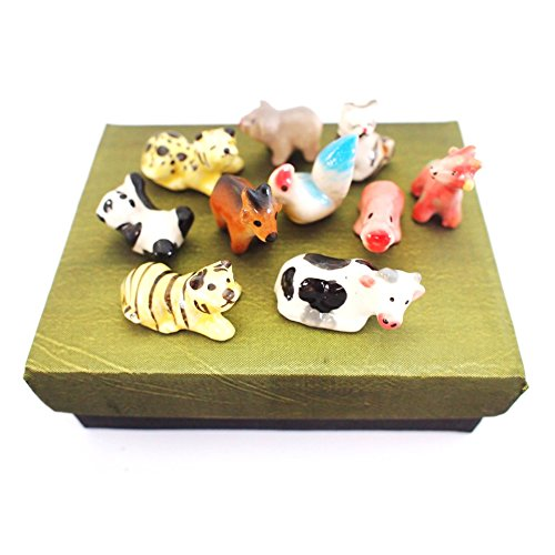10pcs Miniature Dwarf Ceramic Handmade Zoo Kingdom Doll Pretty Set for Terrarium and Aquarium Decor