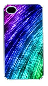 iPhone 4S Case and Cover - Curved Rainbow abstract Polycarbonate Custom Case Cover Protector for iPhone 4s and iPhone 4 White