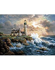 DIY 5D Diamond Painting by Number Kits, Embroidery Pictures Arts Craft for Home Wall Decor Gift (lighthouse, 11.8x15.7inch)