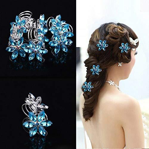 (Hair Accessories Ornaments Bridal Headdress Diamond Flower Spiral Clip Hairpin)