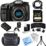 Sony ILCA68/B a68 A-Mount 24.2MP Digital Camera Body 32GB Bundle includes ILCA68/B Camera, Battery, Charger, 32GB SDHC Memory Card, HDMI Cable, Card Reader, Mini Tripod, Beach Camera Cloth and More!