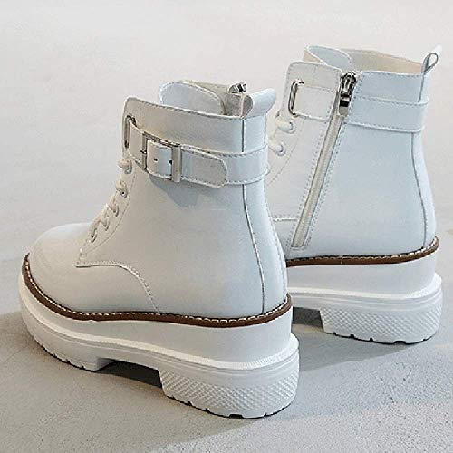 Otoño Martin Calzado Libre E Botas Mujer De Aire Invierno Para White Al Gruesos Cuero Botines Fondos Deportivo 5PpPWn