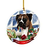 Boxer Fawn Santa I Can Explain Happy Howliday Round White Porcelain Hanging Ornament