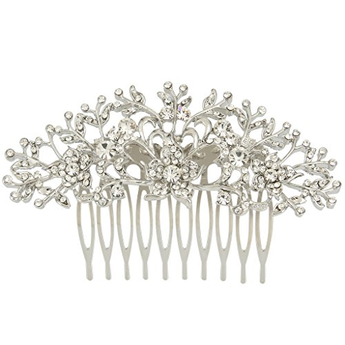 EVER FAITH Austrian Crystal Wedding Hibiscus Flower Leaf Vine Bride Hair Comb Clear Silver-Tone