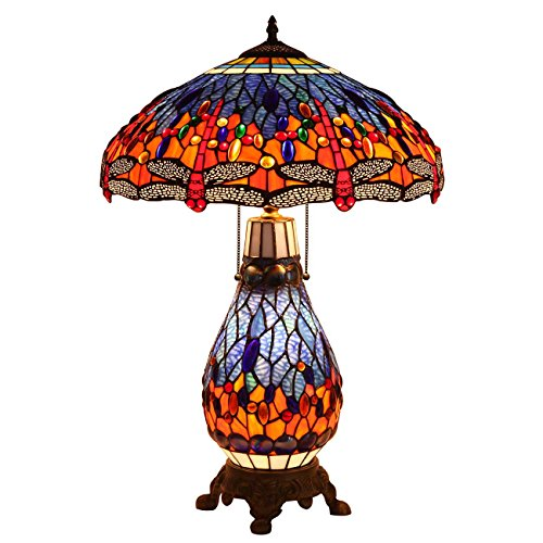 Bieye L10545 18-inches Dragonfly Tiffany Style Stained Glass Table Lamp with Lighted Base, 26-inch Tall