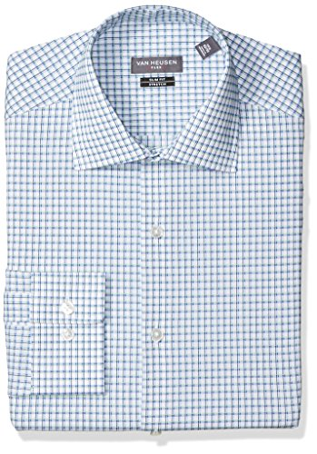 Van Heusen Men's Dress Shirt Flex Collar Slim Fit Check, Opal, 17