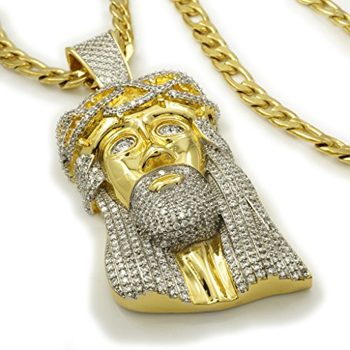 18K Iced Out Jesus Piece With FIGARO Chain, 24in Figaro chain