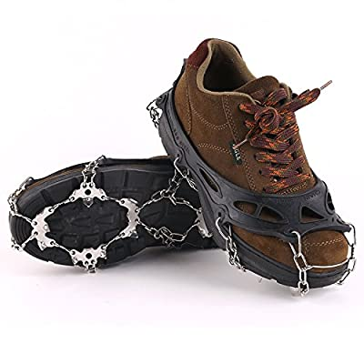 Vinqliq 19 Teeth Claws Micro spikes Footwear Ice Traction System Crampons Non-slip Shoes Cover for Walking, Jogging, or Hiking on Snow and Ice