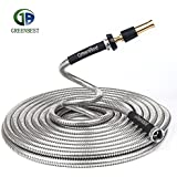Greenbest stainless steel garden hose, Aluminium alloy nozzle,bind belt,rubber washers,Watering lawn,yard/garden,car wash,washing pets,home cleaning,tangle resistant,lightweight,bathroom (25FT)