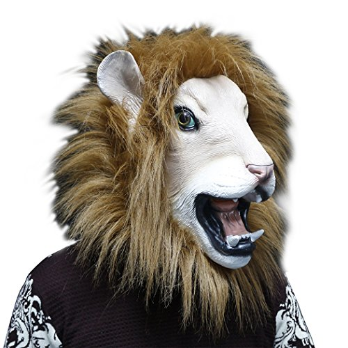 Latex Lion Head Mask Adult Halloween Costume Party Animal Mask Props Rubber King Lion Masks New Brown]()