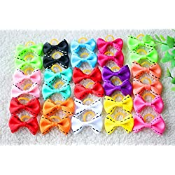 yagopet 40pcs/20pairs New Dog Hair Bows Rubber Bands Choose 20 Styles Small Bowknot Pet Grooming Products 1.38inches Mix Colors Pet Hair Bows Topknot Dog Accessories Pet Grooming Products (Style 8)