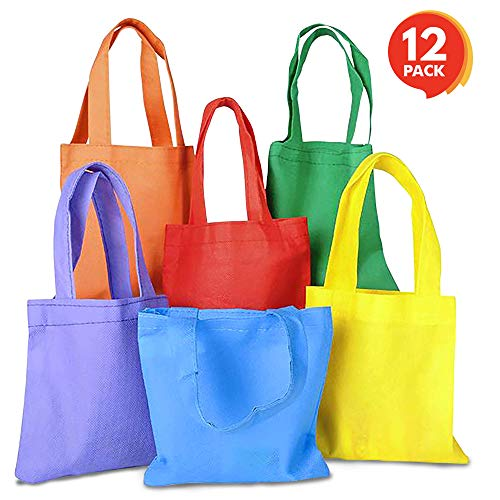 "ArtCreativity Fabric Tote Goodie Treat Bags (12 Pack) | 6"" x 6"" Colorful Party Favor Gift Baggies for Kids 