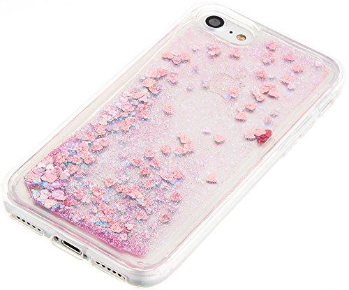Nnopbeclik Silikon Transparent Hülle Für Apple Iphone 7, Durchsichtig Ultra Slim Weich TPU Cover Case Creative Flüssiger Sequins Diamant 3D Bling Bling Blume Case Etui, Schutzhülle Muster Glänzend Gli