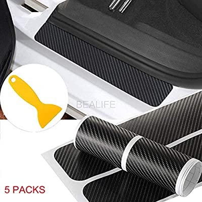 Door Sill Protector, BEALIFE 5Pcs 4D Carbon Fiber Car Door Sill Scuff Guard Pedal Protector Scuff Plate Sticker Anti-Kick Scratch with Strong Adhesive and Scraper for Car SUV Pickup Truck Sedan