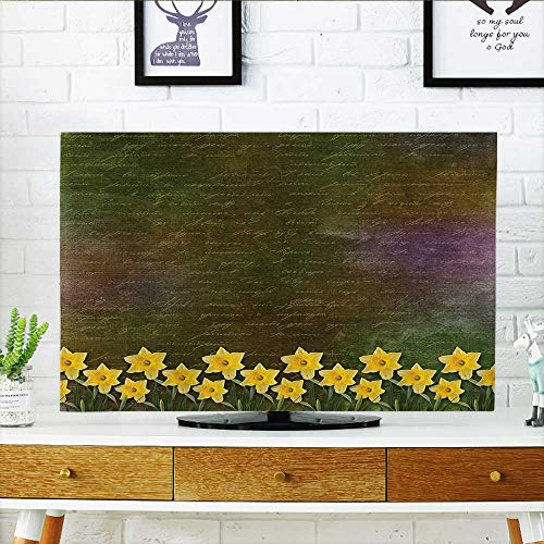 L-QN Cord Cover for Wall Mounted tv mBunch of Potted Daffodils Under Calligraphy Lettering Cute Featured Flower Cover Mounted tv W32 x H51 INCH/TV 55