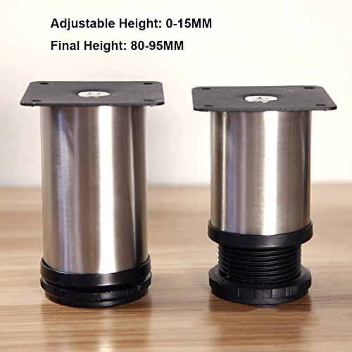 4x Stainless Steel Cabinet Legs Kitchen Feet Worktop/Unit/Breakfast Bar/Desk Table Legs Furniture Legs - Good Quality - Adjustable Height (Total:80-95mm)