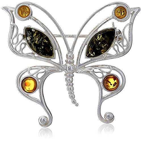 Sterling Silver Multi-Color Amber Butterfly Pin - Sterling Silver Butterfly Brooch Pin