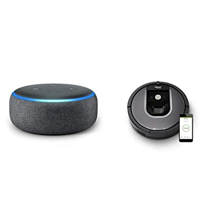 Echo Dot gris antracita + iRobot Roomba 960 - Robot Aspirador Óptimo Mascotas, Succión 5 Veces Superior, ...