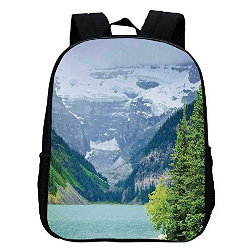 Lake House Decor Durable Kindergarten Shoulder Bag,Landscape of Lake Louise and Mountains with Snows Alpine Trees in Alberta Canada For school,11.8