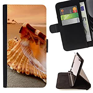 KingStore / Leather Etui en cuir / Samsung Galaxy S3 MINI 8190 / Seashell Beach