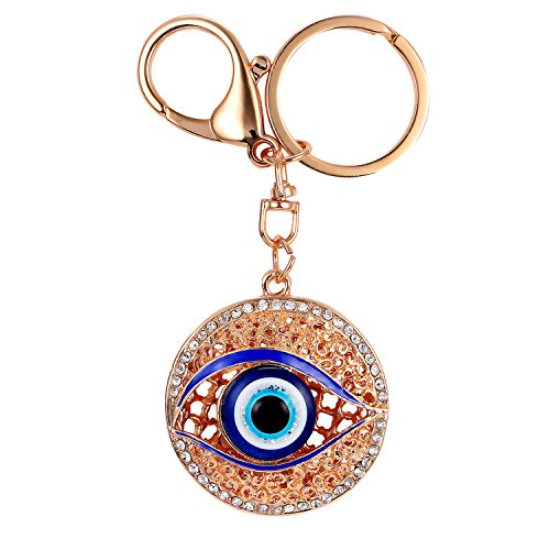 Crystal Eye Bunny (Pro Acme Blue Evil Eye Sparkling Czech Rhinestone Keychain Crystal Handbag Charm Key Chain)