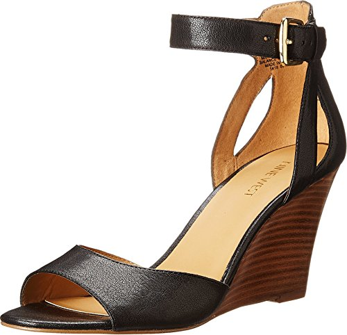 Nine West Women's Floyd Black Leather Wedge