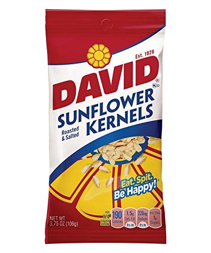 - DAVID Roasted and Salted Original Sunflower Kernels, 3.75 oz, 12 Pack