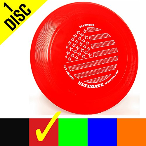 50 Strong Brand Ultimate 175 Gram Flying Sporting Disc - Best Gift for Adults and Kids - Made in USA (One Disc) (Red Flag)]()