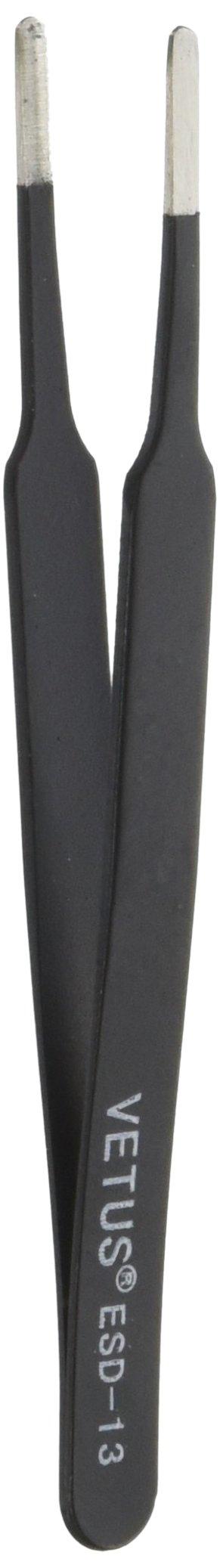 Vetus Pro ESD Safe Flat Round Tip Straight Tweezers - ESD-13