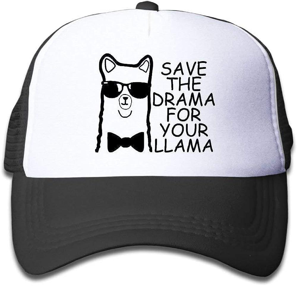 LOPEZ KENT Save The Drama For Your Llama Alpaca Boy & Girl Baseball Caps Mesh Hats Adjustable Baseball Mesh Caps