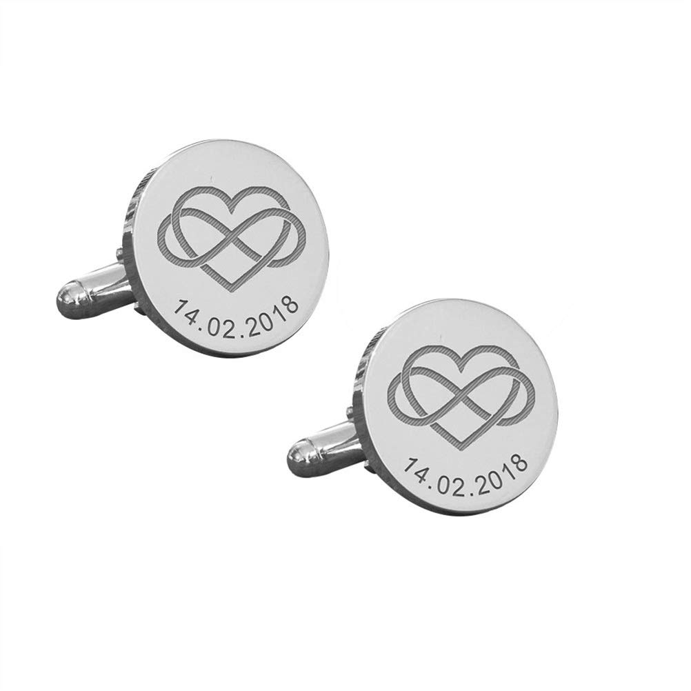Elefezar Personalized 925 Sterling Silver Engraved Cufflinks Date Cufflinks Formal Business Wedding Shirts