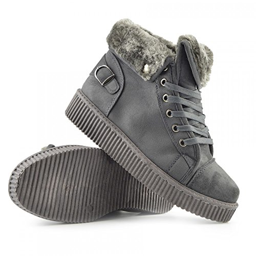 Kick Footwear Womens Chunky Platform Sole Lace Up Skater Trainers Shoes Grey - BFX307 t8bJi1T