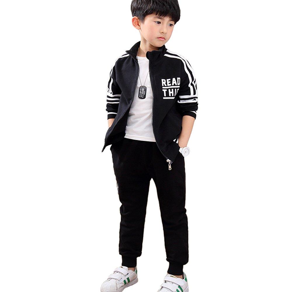 OnlyAngel Boys Athletic Tracksuits 2 Piece Long Sleeve Zipper Jacket and Elastic Pant Clothing Sets Age 4-12 yrs (7-8 Years) Black