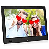 MRQ 10.1 Inch Digital Photo Frame Display Photos with Background Music, 1080P Video USB SD Slot Calendar, Alarm Supported, with Motion Sensor and Multi Slideshow Modes