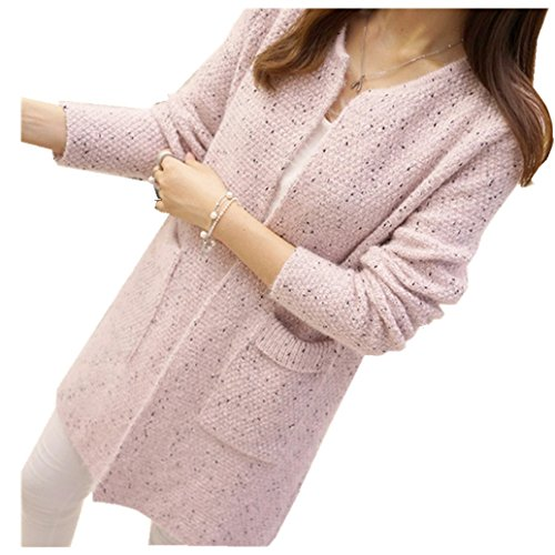 AMA(TM) Women Elastic Knitted Cardigan Sweater Cover Up Coat Outwear (Pink)