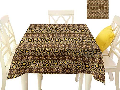 WilliamsDecor Square Tablecloth African,Leopard Skin Ornaments Small Tablecloth W 50