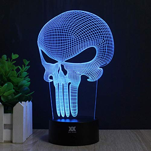 Skull 3D Acrylic LED Night light 7 Color Touch Table Desk Lamp Xmas Gift (Remote & Touch) For Sale