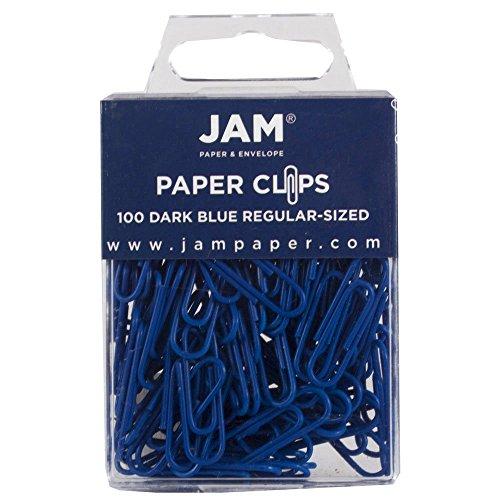 JAM Paper® Paper Clips - Regular 1 Inch Paperclips - Dark Blue - 100 Paper Clips per Pack