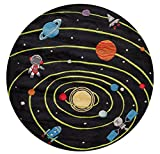 Momeni Rugs LMOJULMJ22BLK500R Lil' Mo Whimsy Collection, Kids Themed Hand Carved & Tufted Area Rug, 5' Round, Outer Space Black