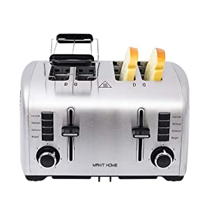4 Slice Toasters,Toasters 4 Slice Best Rated Prime Toaster,Stainless Steel Retro Extra Wide Kitchenaid Toaster,Top Rated Best Prime Mini Bread Toasters Oven with 7 Shade Settings,Removable Crumb Tray