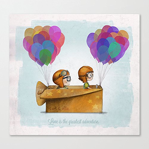 "Pioenfly UP Pixar Love is the greatest adventure Unframed Natural Canvas Wall Art (12"" x 12"" )"