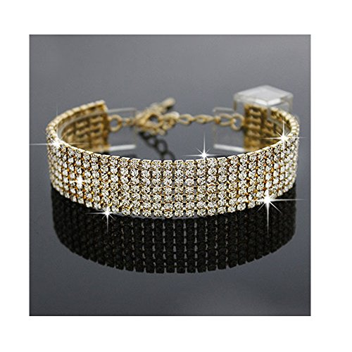 YINLI Charm Rhinestone Crystal Adjustable Bracelet Bangle Fashion Bridesmaid Bridal Jewelry Silver and Gold Plated (Gold)
