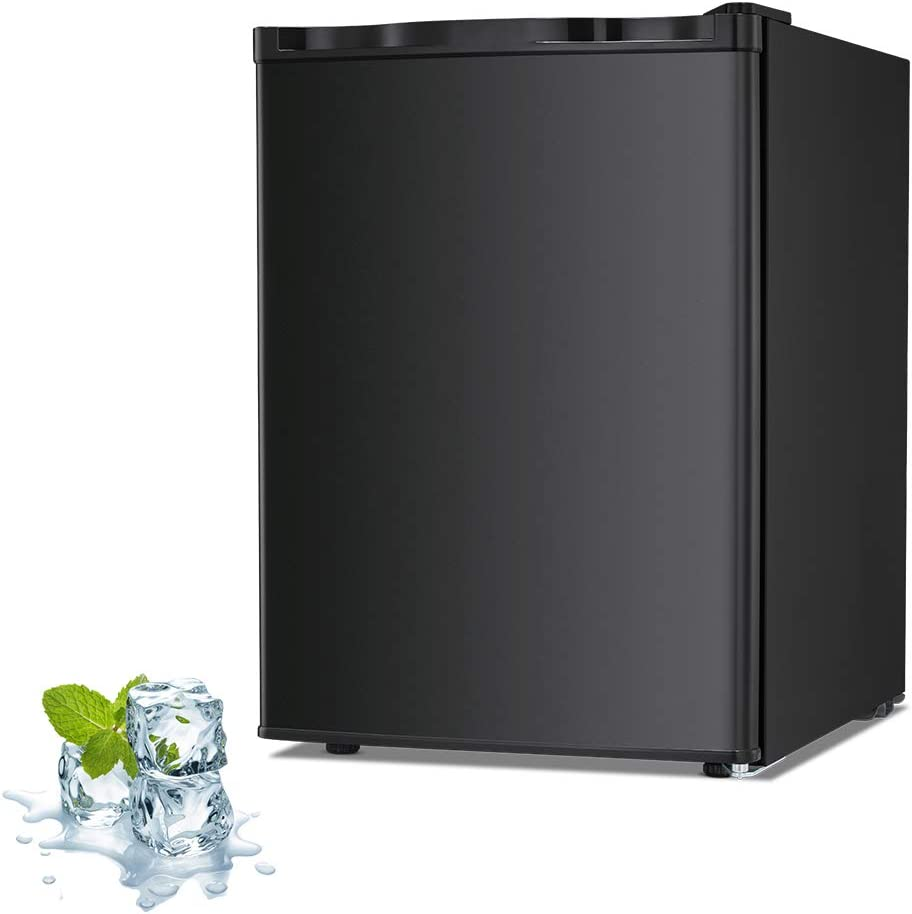 Joy Pebble Free Standing Upright Freezer with Removable Shelf, Adjustable Thermostat, Compact Reversible Single Door Vertical Freezers for Home/Hotel/Apartment/Office (Black, 2.1 cu.ft)