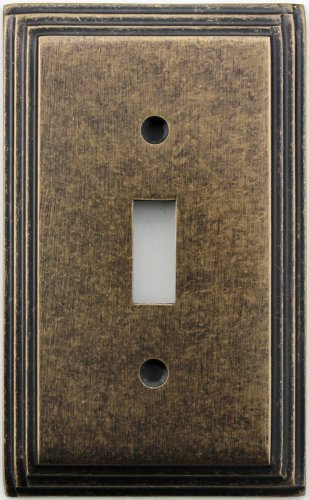 Classic Accents Deco Aged Antique Brass One Gang Toggle Light Switch Wall Plate