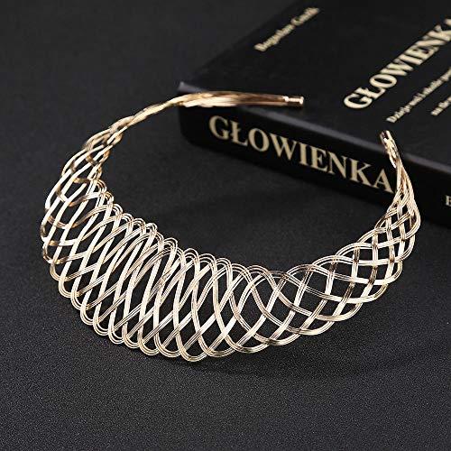 (Fashion Women Gold Weave Choker Chunky Statement Bib Necklace Pendant Jewelry)