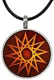 Jewelry Trends Pewter Star Vibrant Blood Orange Round Celestial Pendant on 18