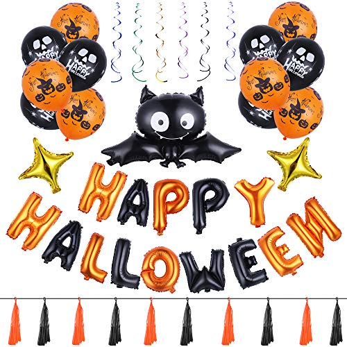 Antner Halloween Party Supplies Kit Happy Halloween Foil Banner Bat and Four-angle Star Foil Balloons Pumpkins Skeletons Latex Balloons Paper Tassels and Foil Hanging Swirls Halloween -