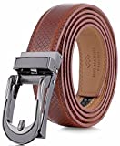 Marino Avenue Mens Genuine Leather Ratchet Dress Belt with Open Linxx Leather Buckle, Enclosed in an Elegant Gift Box - Burnt Umber - Style 141 - Custom Up to 44'' Waist