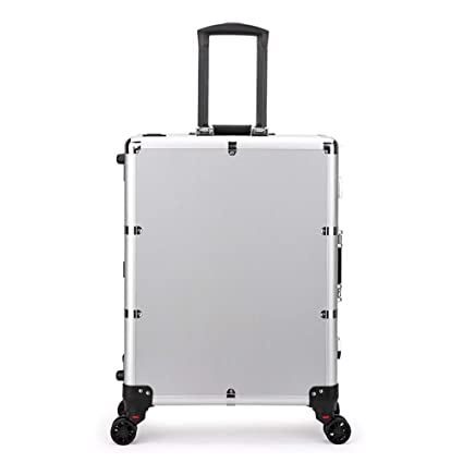 CLEAVE WAVES LED Makeup Train Case,Lighted Rolling Travel Portable Cosmetic  Organizer Box With Mirror